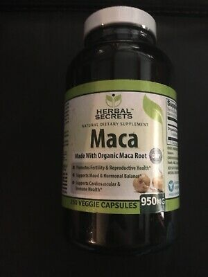 Herbal Secrets Organic Maca - 950mg, 250 VCAPS - Gelatinized for Enhanced