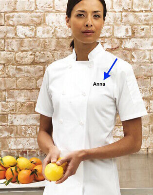 Women's Personalised Embroidered Short Sleeve Chef Jacket Ladies Apron Top