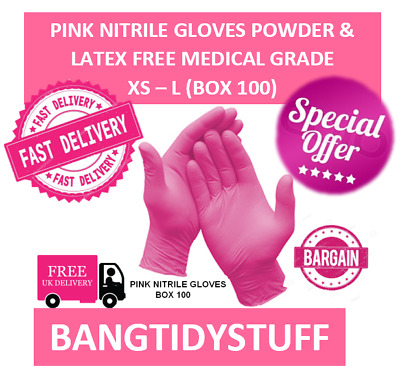 Pink Nitrile Gloves Powder & Latex Free Medical Grade Box 100. Xs - L Free Post