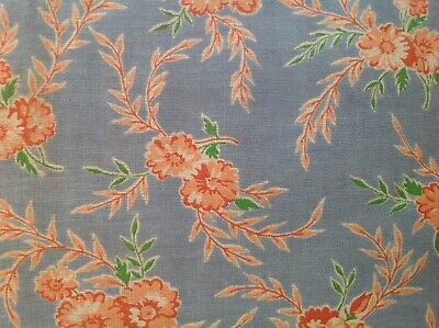 Antique vintage pretty floral blue cotton fabric c1930s sewing quilting
