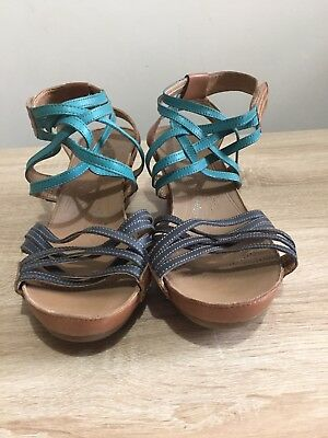 8dc0fb117c6 CLARKS PLUS LEATHER Wedge Velcro Fastening Sandals Size 7 - £17.99 ...