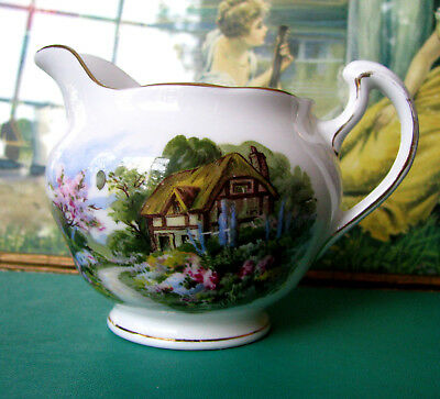 Royal Vale Cottage Scene Creamer English Thatched Cottage Creamer Pattern 7382