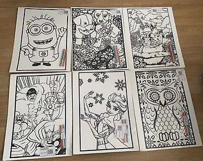 6 Large Adult/child/boy/girl Velvet Colouring Picture Boards