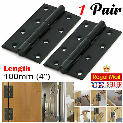 "1x Pair Of Large 4""/100mm BUTT HINGES HEAVY DUTY Strong Steel Country Door BLACK"
