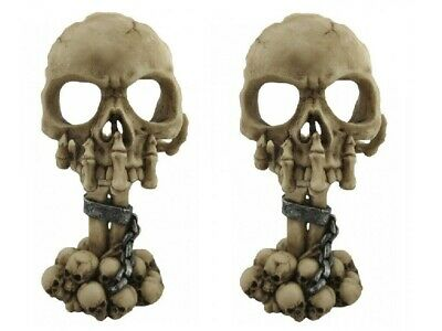 Pair Of Gruesome Chained Skull Gothic Candle Holders ~  Skeleton Claw Horror!