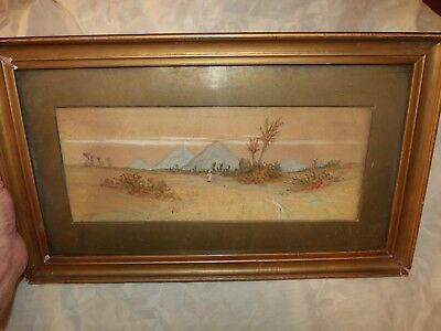 Antique late 19th Century Watercolor Mystic Eygpt Blue Pyramids *Worldwide*
