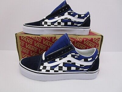 221196a744 VANS Old Skool Classic Shoe Checker Flame Navy True White Men 6.5 Wmn 8
