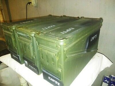 Lot of 3 US Army Miltary GI Surplus 40mm PA-120 Ammo Can Stackable