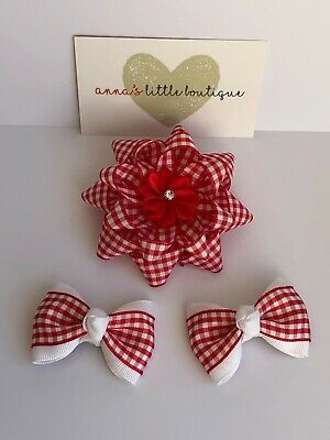 """Red and white gingham school girl hair bows handmade 3.5"""" and 2"""" x3 bows"""