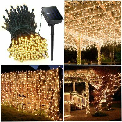 50-500 LED Solar Power Fairy Lights String Garden Outdoor Party Wedding UK