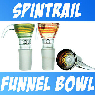 Spintrail Color Glass on Glass Slide Bowl Small Personal Snapper Funnel 14-18mm