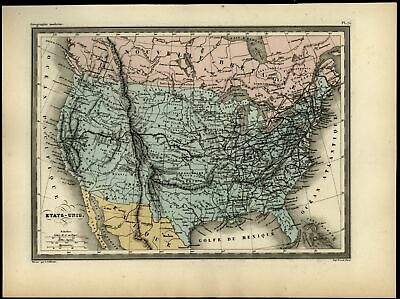 United States Mormon Fort named Texas California Rocky Mountains c.1870 map