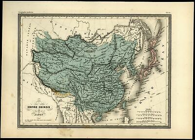 China Chinese Empire Bhutan separate Tibet Formosa Korea c.1870 French map