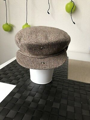 Vtg Newsboys Hat Cap Light Brown Ambassador Mens Hat Hong Kong 60% Wool #Sunday/