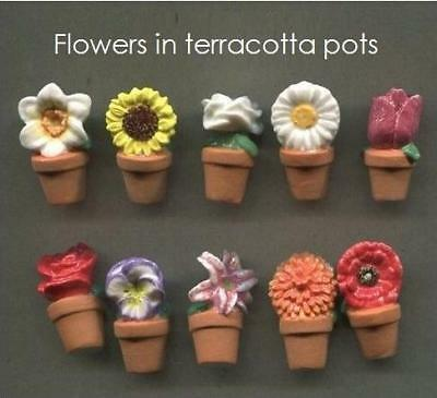 Retired Feve Dollhouse Miniature Porcelain 10 Colorful Flower In Terracotta Pot