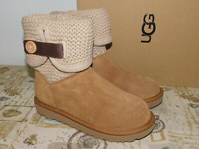 23d8c2a2340 NEW WOMENS SIZE 5 Chestnut Ugg Shaina 1012534 Suede Sheepskin Boots Knit  Cuff