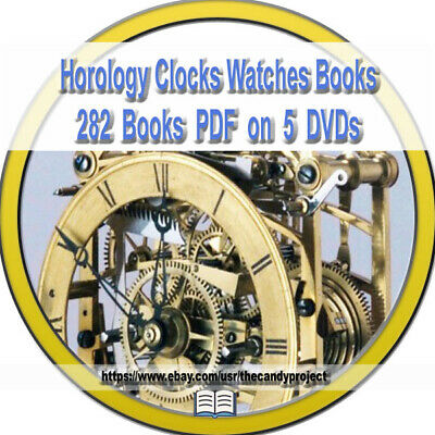 5 DVDs Horology Watches Clocks Repair Vintage Books Pdf