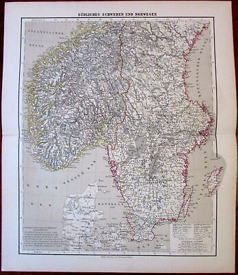 Southern Sweden Norway near Denmark 1874 Flemming German detailed large old map