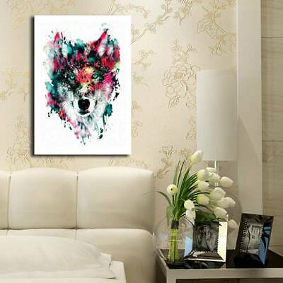 Spray Printed Unframed Forest Wolf Oil Painting Colorful Wall Decor Art