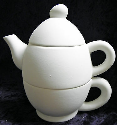 Ready to Paint Ceramic Bisque- Tea for one Egg Teapot Set