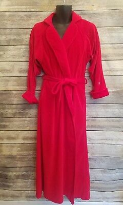 Pierre Cardin Vintage USA Long Red Robe Velvet With Belt Tie House Coat Small