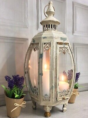 LARGE Antique French Vintage Style Home Garden Lantern Candle Holder Chic NEW