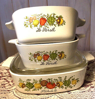 4-pc.Corning Ware Spice 'O Life Casserole Dishes-Two P43B & One A1B w/Lid-EUC