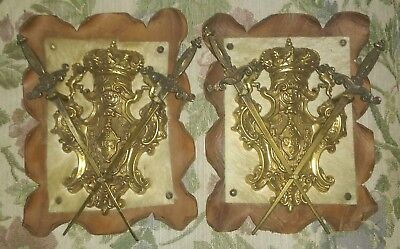 Vintage Twin Wall Plaques Medieval Swords Knight Duel Sword Set Leather Backing