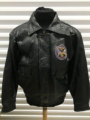 Department Of The Army USA Sz L Black Leather Jacket Armed Forces U.S Military