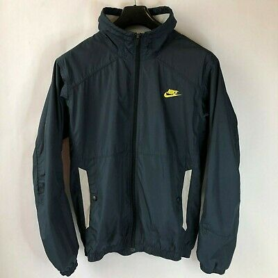 5836ae1303 Vintage Nike Fit Storm Windbreaker Jacket Swoosh Spellout in Gold Size L  Large