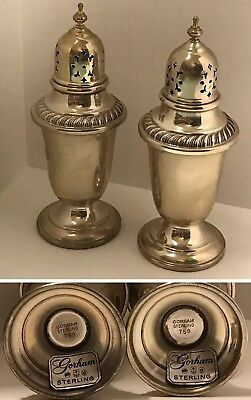 Vintage ENGLISH GADROON by GORHAM STERLING SILVER Salt and Peppers Shakers #759