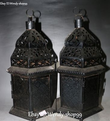 Unique China Iron Flower Ruyi Leaf Hollow Ancient Oil lamp Cage Statue Pair