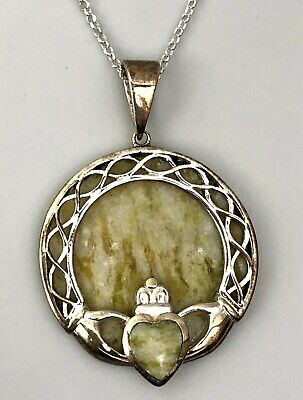 Vtg 1960s JC Walsh Connemara Marble Irish Claddagh Pendant w/ Sterling Necklace