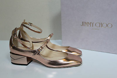 40367a21148 New sz 7.5   37.5 Jimmy Choo Wilbur Mirror Rose Gold Leather Low Heel Pump  Shoes