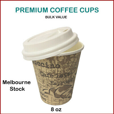 Disposable Coffee Cups with Lids 8Oz Paper Cups Bulk Buy High Quality-AU stock