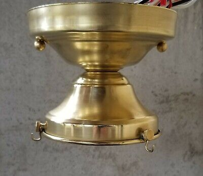 """Ceiling Light Fixture 4"""" shade and antique 3 chain holder, unfinished brass"""