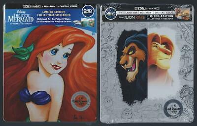 The Little Mermaid & Lion King 4K Ultra Hd Dvd + Blu-Ray + Digital Hd Steelbook