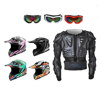 Kids/Youth/ MX BMX Motocross Motorcycle AU Helmet + Body Armour + Tinted Goggles