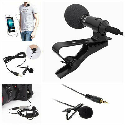 3.5mm Clip-on Lapel External Lavalier Microphone for Cell Phone PC Laptop Pad UP