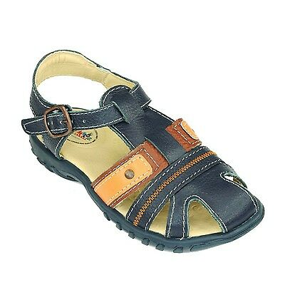 Boys Trendy Navy Blue Leather Sandals Comfortable Kids Shoes - Toddler to Junior