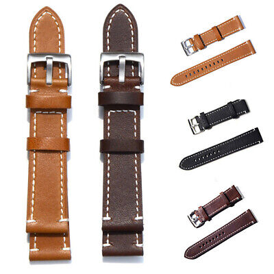 Comfy Genuine Leather Watch Wrist Band Strap Replacement 18 19 20 21 22 23 mm