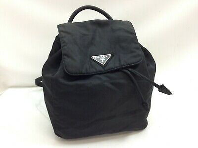 feb0f7740d7a AUTHENTIC PRADA LOGOS Backpack Black Tessuto Bag Vintage 9B201100M ...
