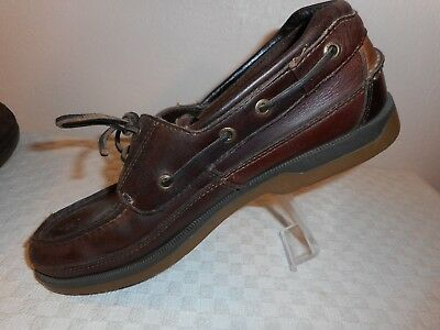 fdec8573c56 Sperry Top Sider Boat Shoes Women size 9 Brown Leather 2 eye slip on flat  casual