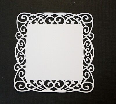 6 x White Flourish Swirl Square Die Cuts Mats Card Making Toppers Scrapbooking