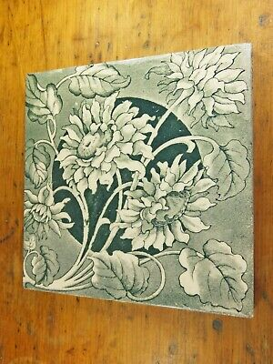 Antique Victorian blue and white fireplace tile original floral sunflower