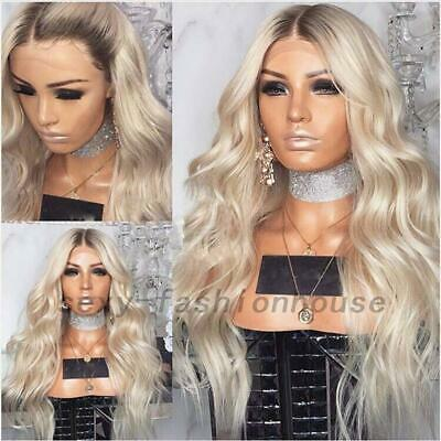 Fashion Party Blonde Lace Front Wig Synthetic Ombre Long Wavy Natural Wigs