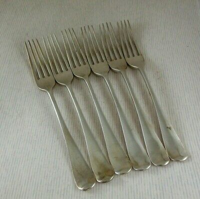 Antique Solid Silver  6 OLD ENGLISH TABLE FORKS  Hallmarked:-London 1904