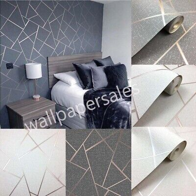 Quartz Fractal Wallpaper Geometric Metallic Silver Fd42280 Fine