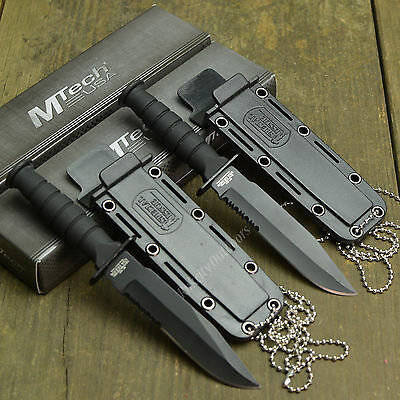 Lot Of 2 MTECH Tactical 440 Stainless Fixed Blade Neck Knives Knife Black 632