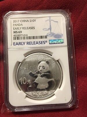 2017 China Silver Panda (30 g) 10 Yuan - NGC MS69 - Early Releases